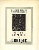 1959 Mini Poster Lithograph ORIGINAL Print Georges Braque Ceuvre Graphique