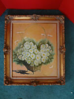 """Vintage Large Victorian Style Gold Guild Picture Frame w Floral Picture 26""""x30"""""""