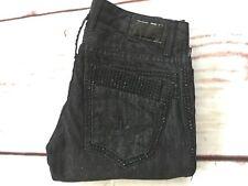 4b00823d55b 👍ROBIN S JEAN Men s Double Back Pockets Black Swarovski Jeans Slim  Straight 30