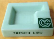 1930s - 1950s CGT FRENCH LINE CRUISE SHIP JADEITE GREEN OPALEX GLASS ASHTRAY