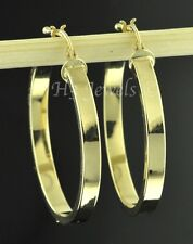 14k solid yellow gold plain hollow hoop earring 2.40 grams 7/8 inch #3003