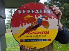 OLD VINTAGE 1961 WINCHESTER REPEATER PORCELAIN ADVERTISIING SIGN SHOT SHELLS