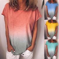 Womens Summer Tunic Tops Plus Size Casual Beach Fashion T Shirt Blouse S-5XL US