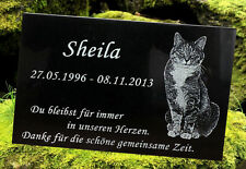 Tiergrabstein Tiergedenkstein Gravur  Wunschgravur mit Foto ca.20x30x1cm Katze