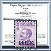 1922 Italia Regno B.L.P. cent. 50 n. 10 Certificato BLP