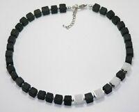 Halskette Kette Würfelkette Würfel Cube Lava schwarz Quarz silber weiß  214d