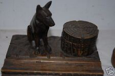 Two Old Carved Wood Black Forest Dogs Comforts