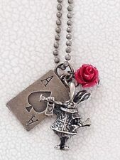 Bronze Painting The Roses Red Necklace. Alice In Wonderland. Ace Of Spades.