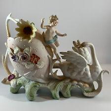 Vintage Bisque Planter Swan Cherub Angel Victorian Style Ceramic Finely Detailed
