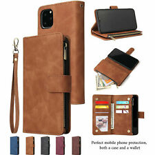 For iPhone 11 Pro Max XR XS 78+ Wallet Case Zipper Leather Card Holder Flip