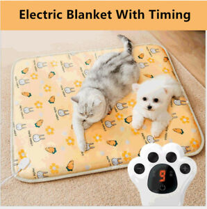 Puppy Heat Pad Electric Heated Mat Blanket Dog Cat Whelping Bed Mat Timer