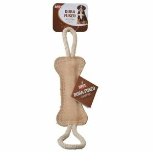 "LM Spot Dura-Fused Leather Bone Tug Dog Toy 18"" Long"