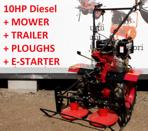 Tiller Cultivator TwoWheel tractor  10HP Diesel with E-starter + mower + trailer