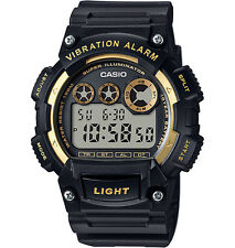 Casio Men's Digital Black Resin Band, 100 Meter WR, Vibration Alarm, W735H-1A2V