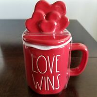 NEW Rae Dunn LOVE WINS Red Heart Topper Mug - Valentine's Day 2021 FREE SHIPPING