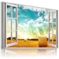 GOLDEN FIELD 3D Window View Canvas Wall Art Picture Large SIZE W31