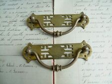 French 2 of cabinet door handles ornate brass antique c.1930