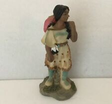Resin Native American Indian Girl Carrying Large Basket Figure Carved/Casted 4""