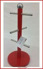 Free Standing Red Stainless Steel 6 Cup Mug Tree Stand Kitchen Storage Holder