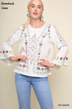 6641ebb3fa3 UMGEE Floral Embroidered Bell Sleeve Top USA Boutique