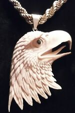 CARVED MOOSE ANTLER AMERICAN EAGLE PENDANT NECKLACE+STERLING CHAIN 4th of July