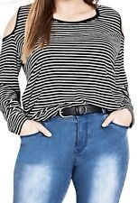 CITY CHIC Plus Size Top Womens Size XS 14 Striped Cold Shoulder Stretchy BNWT
