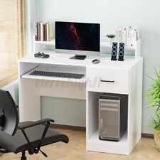 Computer Desk With Drawer Shelf Pc Laptop Table Home Office Workstation White
