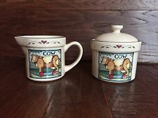 ADORABLE SUSAN WINGET CREAMER CREAM AND SUGAR SET COW FARMHOUSE COUNTRY PATTERN