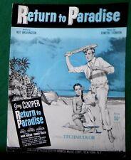 1953 GARY COOPER Movie Star Photo Dramatic Sheet Music South Seas Romance Tiki