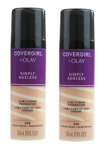 2 x COVERGIRL+OLAY SIMPLY AGELESS 3IN1 LIQUID FOUNDATION 240 NATURAL BEIGE