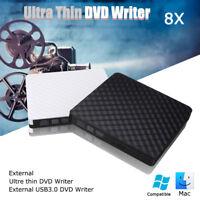 Slim External USB 3.0 DVD Writer Player CD RW  Drive Burner Reader For Laptop PC