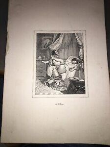 CURIOSA.RÉDUCTION D'UNE LITHOGRAPHIE DE DEVERIA.LE DÉLIRE. XIXéme.