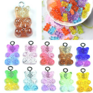 50pcs Resin Cute Bear Mixed Color Charms Pendant DIY Making Earring Necklace