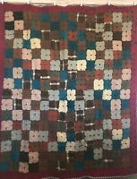Vintage Wool Block Squares Quilt Blanket Hand Tied