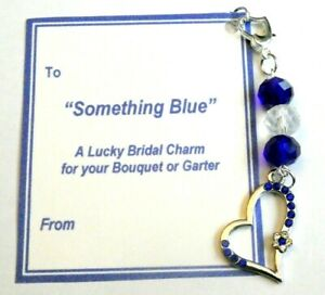 Something Blue Bridal Heart Charm with Blue Crystals on Heart Clip-on Lucky