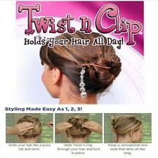 Hot Sale Magic TWIST N CLIP For Your Hair 4 Hairpin Clips + 1 Tassel Tail -LD