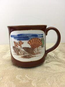 Vintage SEASHELLS Nautical 1980s Otagiri Coffee Tea Cup Mug Hand Crafted Japan