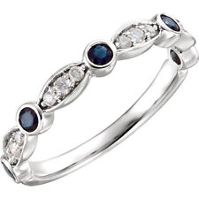 Sapphire & Diamond Anniversary Wedding Band 14K White Gold 1/2ctw Genuine Blue