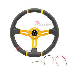 350mm JDM Racing Steering Wheel Black 3D Style Leather Gold Spokes Universal