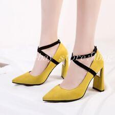 Women's New Pumps Mary Jane Cross Strappy Pointy Toe Block Heels Dress Shoes SZ