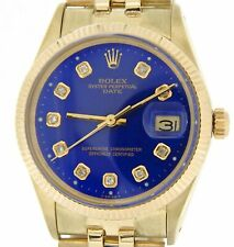 Rolex Mens Date Solid 14K Yellow Gold Watch Jubilee Band Blue Diamond Dial