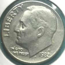 1982 D ROOSEVELT DIME WITH DOUBLING On DATE, In God We TRUST, LIBERTY #1
