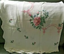 """New listing Vtg Linen Hand Embroidered Tablecloth Pink Roses Buds Blue Flowers 48"""" x 46"""""""