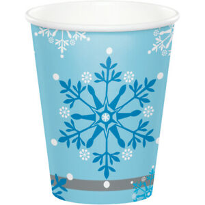 8 x Blue & White Frozen Snowflakes Paper Cups Winter Christmas Tableware