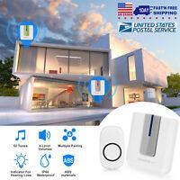 Wireless Doorbell Chime Kit Portable Receiver Waterproof Button Door Bell Ring
