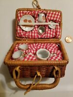 Vintage Miniature Doll Tea Set Wicker Picnic Basket with Dishes Teddy Bears