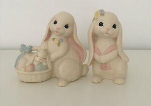 Set of 2 Vintage Bunnies Rabbit Lovin Bunnies  Easter Figurines Ceramic