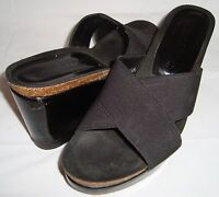 Donald J Pliner Brie Black Patent Leather Strappy Sandals 7.5 Wedge Heels Shoes