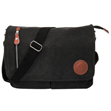 Men's Handbag Retro Briefcase Messenger Canvas Shoulder Satchel Bags Black