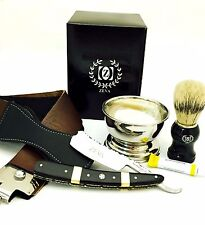 ZEVA SOLINGEN LUXURY CUT THROAT STRAIGHT RAZOR SHAVING GIFT SET, DOVO PASTE